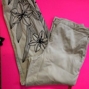 Talbots Embroidered on leg of pants